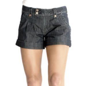 Odyn Belinda Cuffed Pleat Front Denim Shorts